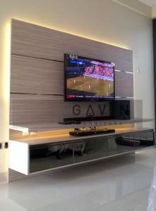 Backdrop TV Bahan HPL Minimalis Green Andara Jaksel