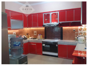 Harga kitchen set bahan hpl warna merah di ciputat for Kitchen set hijau