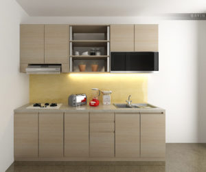 pembuatan desain 3D kitchen set minimalis