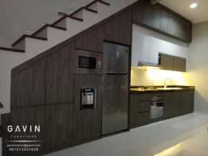 Q2450 jual kitchen set minimalis finishing hpl kombinasi di pamulang
