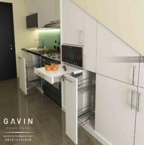 Q2472 desain lemari dapur minimalis modern finishing duco