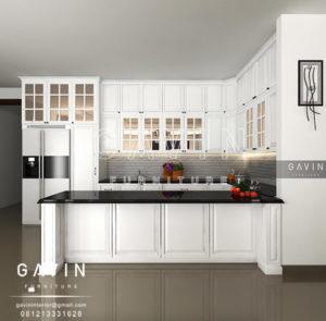 Q2459 design kitchen set klasik dengan meja island