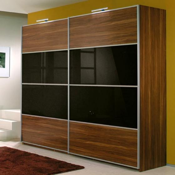lemari pakaian minimalis Walnut Black Glass