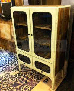 vintage cabinet with glass
