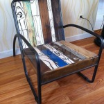 vintage rustic wood chair with resin