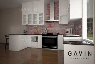 kitchen set duco putih di bintaro