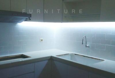 Kitchen Set HPL Super White Glossy Serpong Paradise