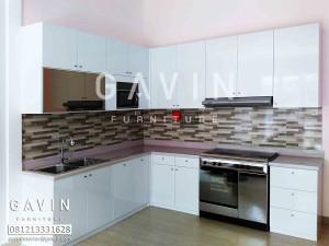 Kitchen Set Model Letter L Dengan HPL Super White Glossy