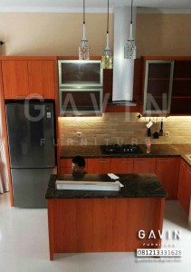 model kitchen set minimalis hpl coklat