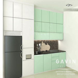 Q2394 design model kitchen set minimalis kombinasi warna