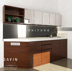 Q2501 jual kitchen set minimalis kombinasi cermin di benhil