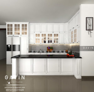 Q2459 design kitchen set klasik dengan meja island