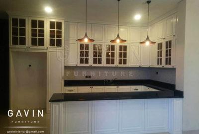 Q2459 kitchen set klasik dan island finishing duco semi glossy