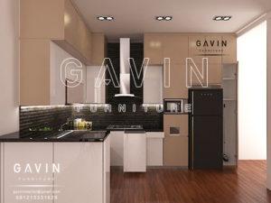 Q2582 contoh design kitchen set murah jakarta dengan kabinet kulkas