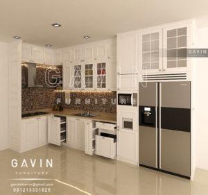 Q2535 design 3D kitchen set klasik semi glossy