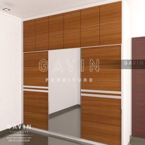 Q2558 design lemari sliding 3 pintu full plafon