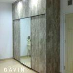 Q2558 lemari sliding 3 pintu finishing hpl kombinasi cermin