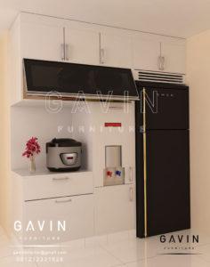 Q2638 design lemari dapur minimalis semi gloss