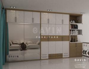 desain lemari pintu sliding cermin model minimalis Q2643