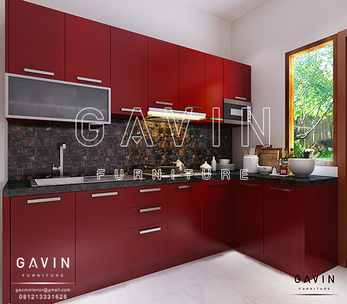 design gambar kitchen set minimalis merah maroon Q2586