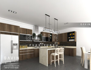 pembuatan kitchen set minimalis letter L Q2302
