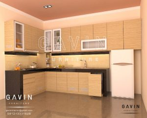 contoh design kitchen set minimalis hpl oak gavin furniture Q2699