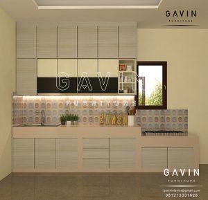 design kitchen set HPL warna coklat TH 150 AA