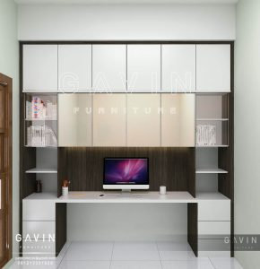 design lemari buffet minimalis kombinasi kaca dan cermin Q2540