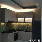 kitchen set dapur minimalis modern finishing hpl kombinasi kaca es Q2706