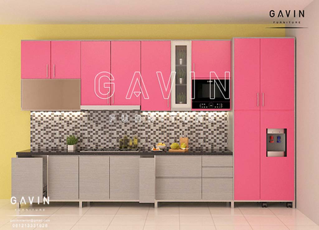 Model dan contoh kitchen set minimalis warna pink di depok for Contoh kitchen set minimalis