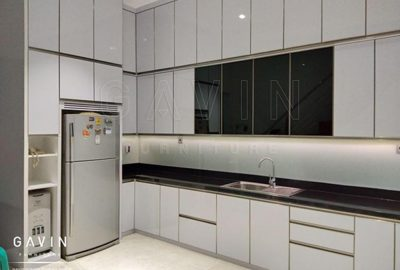 contoh kitchen set minimalis modern finishing hpl glossy Q2838