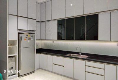 contoh kitchen set minimalis modern finishing hpl glossy Q2838