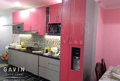 contoh kitchen set minimalis warna pink finishing HPL TH 018 AA bright pink Q2652