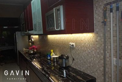 contoh kitchen set warna merah kecoklatan HPL TH 805 J Red Chesnut Q2805