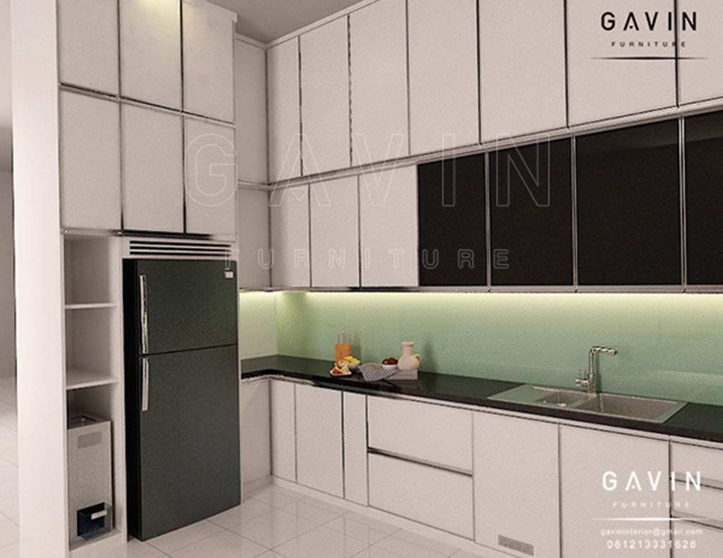 Design kitchen set minimalis modern warna putih glossy q2838