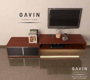 design credenza tv minimalis dengan kombinasi cermin hitam Q2889