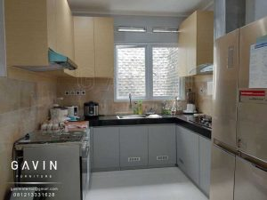 bikin kitchen set minimalis letter u finishing hpl project pejompongan Q2906