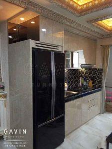 design lemari dapur minimalis modern finishing HPL project di ancol Q2676