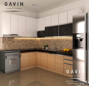harga lemari dapur model minimalis kombinasi hpl di BSD Q2899