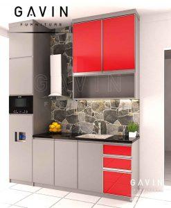 kabinet dapur bersih minimalis modern dengan island project pejompongan Q2860