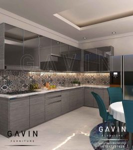 Lemari Dapur Bahan HPL Grey Minimalis Modern Dengan Cermin Grey Q2867
