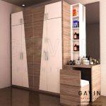 design lemari dengan meja rias kombinasi HPL Id2918