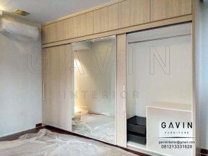 lemari sliding kaca kombinasi finishing HPL design minimalis Q2719