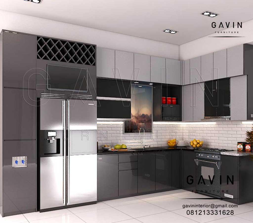 contoh lemari dapur  minimalis  modern warna  dark grey Q2976