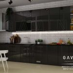 gambar lemari dapur warna hitam minimalis di cipulir Q2983