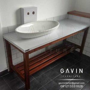 Meja Untuk Wastafel Dengan Top Meja HPL White Project Cireundeu Q3050