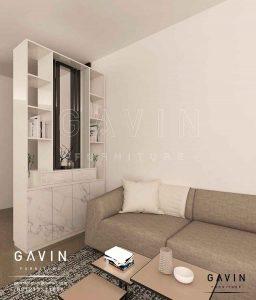 design partisi ruang tamu minimalis project di Taman Palem Q3025