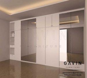 Design Lemari Baju Cermin Letter i Minimalis Putih Q2920