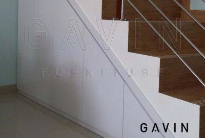 Interior Lemari Di Bawah Tangga HPL white 095 cm aica Glossy Q3011