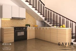 design kitchen set di bawah tangga project di Manado Q2927